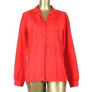 70s Mod Coral Red Collared Button Up Blouse